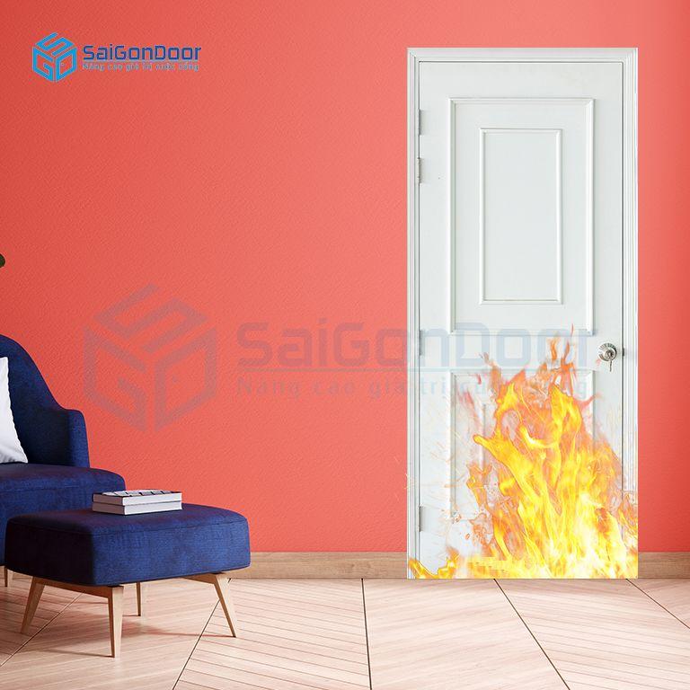 Cửa gỗ ngăn cháy cách âm cao cấp MDF O4-C1 phao chi